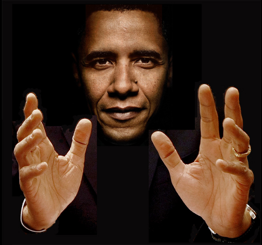 Barack Obama - the 7th left handed US president! Barack-obama-hands-portrait