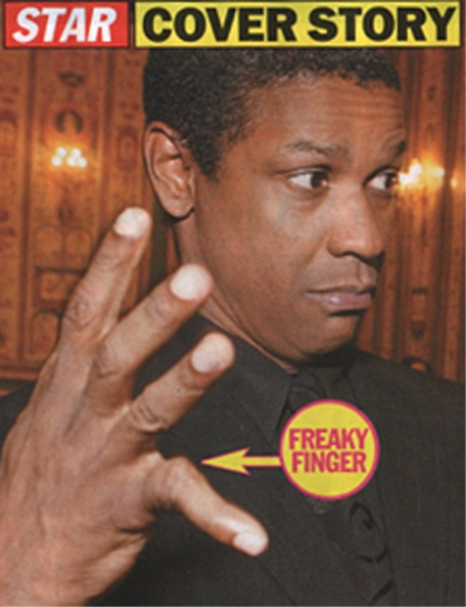 Denzel Washington's hands.